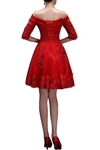 Robe Avril Robe De Retour À La Maison De Bateau De Demoiselle D'honneur Dentelle Superbe Demi-appliques Manches Rouges