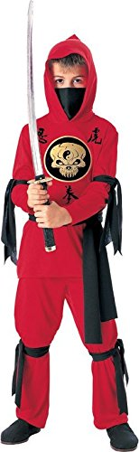 [Halloween Concepts Child's Red Ninja Costume with detachable hood, Medium] (Red Halloween Kids Costumes)