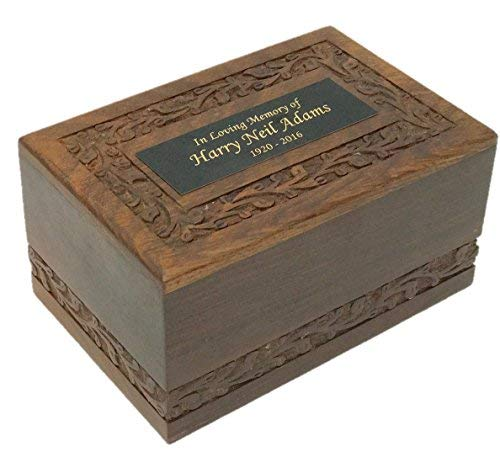 NWA Hand Carved Solid Wood Cremation Urn with Custom Engraving - Medium