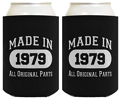 Made in 1977 40th Birthday Gift 2 Pack Can Coolies Black