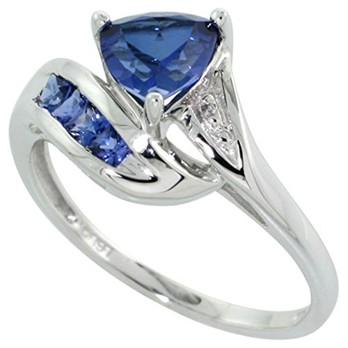 10k White Gold Trillion Ring Brilliant Cut Diamonds & Lab Created Dark Tanzanite Stones 3/8 size 8.5 (Lab Trillion Cut)