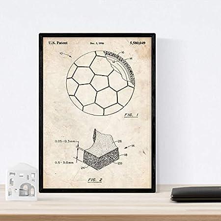 Nacnic Poster con Patente de Pelota de Futbol. Lámina con diseño de Patente Antigua en tamaño A3 y con Fondo Vintage