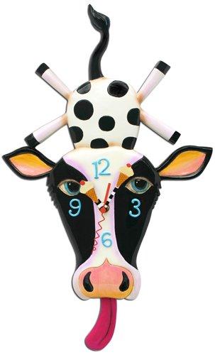 Allen Designs Cow Cream Pendulum Clock