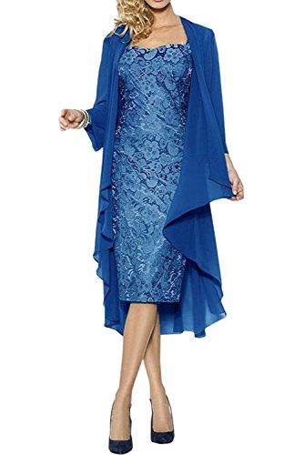 Abendkleider Marie Royal Braut Blau Damen Brautmutterkleider Hell Chiffon Bolero Promkleider Festlichkleider La Kurz Langarm SwqIdq