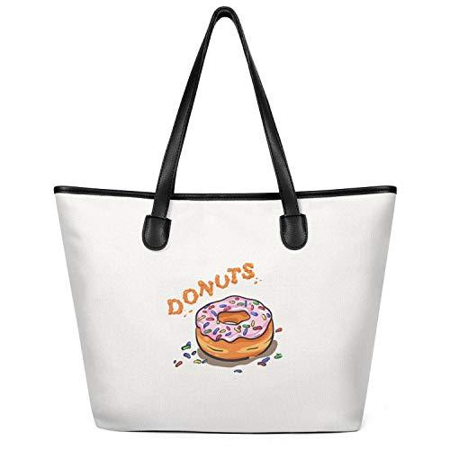 12.5X14 Inches Cute Zip Craft Canvas Large Tote Bag for Women a Fresh Donut Durable Handles Beach Work Gym Book Lunch School Shopping Shoulder Handbag