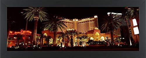 Easy Art Prints Panoramic Images's 'Hotel lit up at Night, Monte Carlo Resort and Casino, The Strip, Las Vegas, Nevada, USA' Premium Framed Canvas Art - 30
