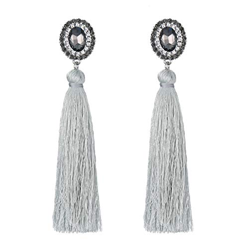 - FAMARINE Long Tassel Earrings, Bohemian Thread Fringe Drop Earrings with Crystals for Women Grey