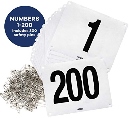 (Clinch Star Running Bib Large Numbers with Safety Pins for Marathon Races and Events - Tyvek Tearproof and Waterproof 6 X 7.5 Inches (Numbers)