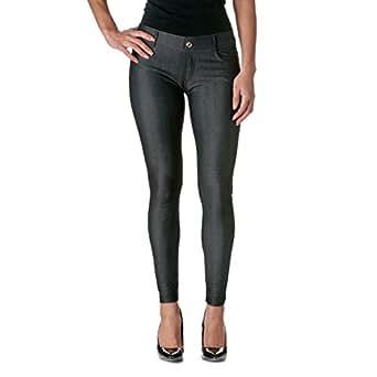 Yelete Black Herringbone Solid 5 Pocket Solid Fashion Jegging With Rhinestones (Small/Medium, Black)