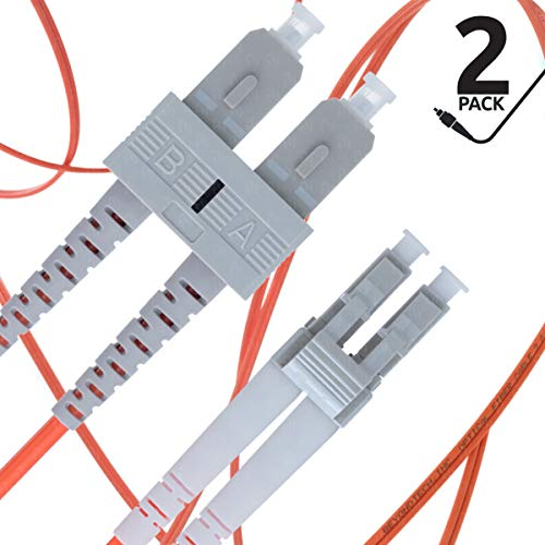 LC to SC Fiber Patch Cable Multimode Duplex - 2m (6.56ft) - 62.5/125um OM1 (2 Pack) - Beyondtech PureOptics Cable Series