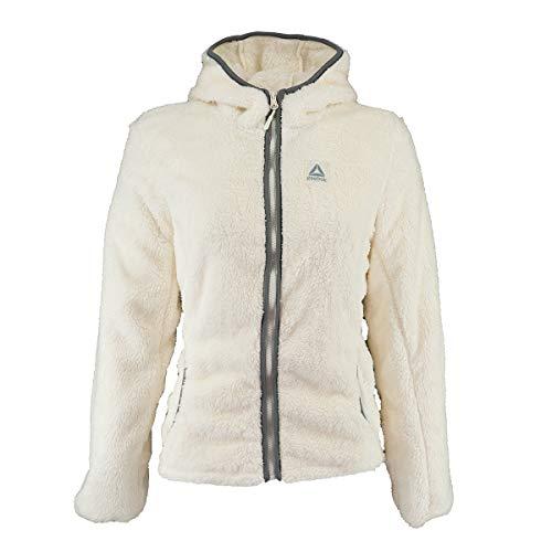 Reebok Women's Double Monkey Fleece Active Jacket, Hooded Cream M