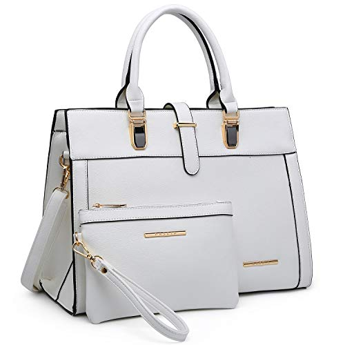 Women's Handbag Flap-over Belt Shoulder Bag Top Handle Tote Satchel Purse Work Bag w/Matching Wristlet