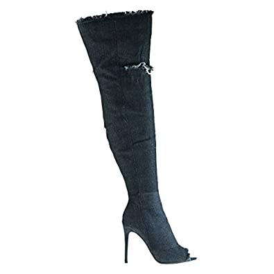 Amazon.com | Over Knee Thigh High Peep Toe Distress Worn Out Jean ...