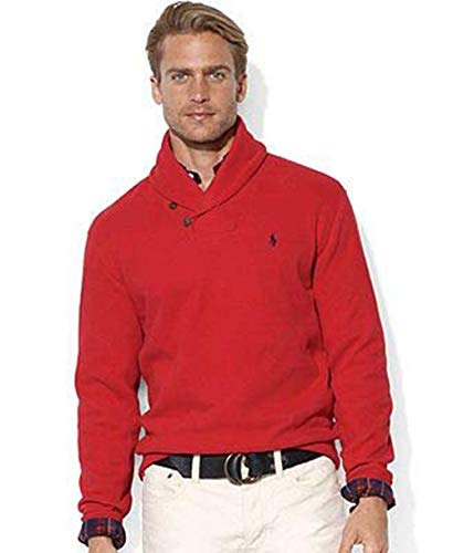 Polo Ralph Lauren Mens French Rib Shawl Neck Sweater (Medium, Red)