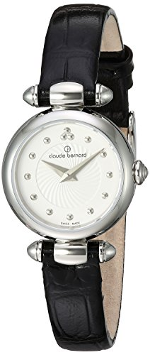 Claude Bernard Women's 'Mini Collection' Swiss Quartz Stainless Steel and Leather Dress Watch, Color:Black (Model: 20209 3 AIN)
