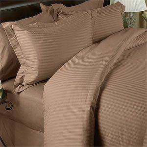 Egyptian Bedding 1200 Thread Count Queen Siberian Goose Down Comforter 8 PC Bed in a Bag, Taupe Damask Stripe