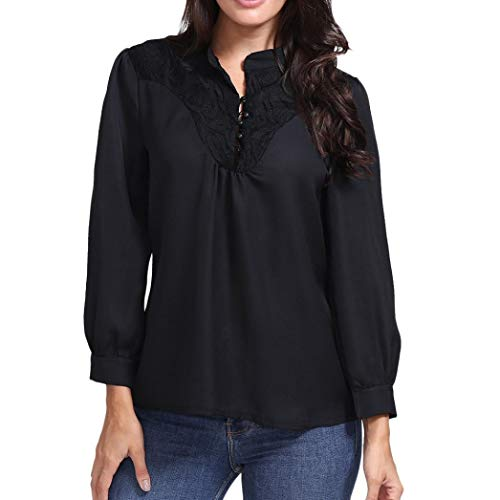 Promotion❤️Women Pullover Shirts, Ladies Round Neck Solid Color Blouse Long Sleeve Lace Patchwork Button Elegant Tops by NEARTIME