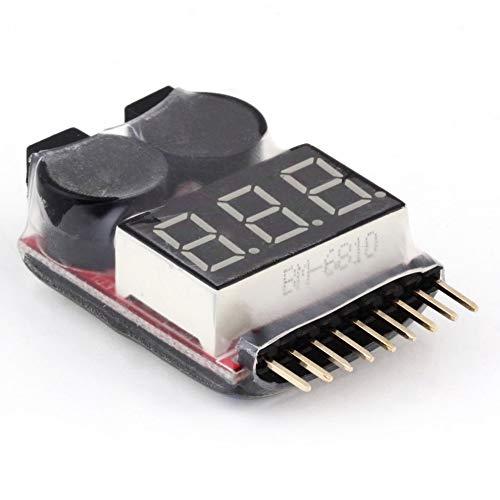 2 in 1 1-8S Lipo//Li-ion//Fe Battery Voltage Tester Low Voltage Buzzer Alarm Checker for Vehicles /& Remote Control Toys Battery Voltage Tester Low Voltage Buzzer Alarm