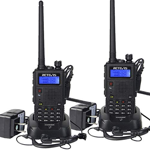 Retevis RT5 Dual Band Two Way Radio, VHF UHF Long Range Walkie Talkies, Police Ham Car Travel Handheld Radio, Scan VOX 2 Way Radio with Earpiece(2 Pack)
