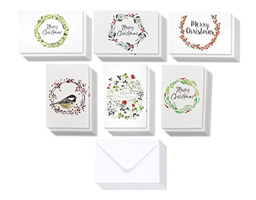 36-Pack Merry Christmas Greeting Cards Bulk Box Set - Winter Holiday Xmas Greeting Cards with Beautiful Wreath Designs, Envelopes Included, 4 x 6 Inches