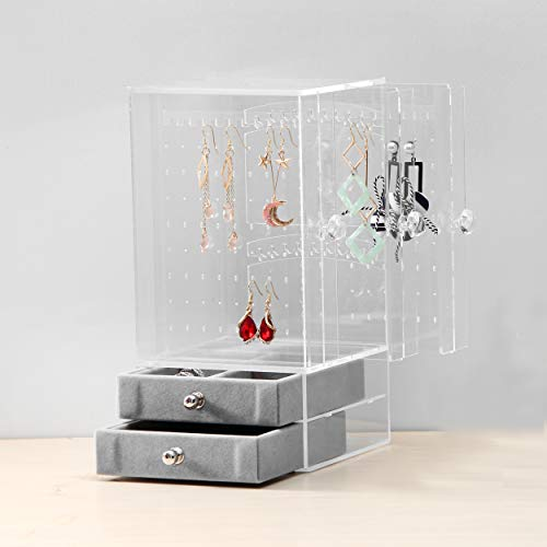 BOCAR Acrylic Jewelry Organizer Box Earring Necklace Transparent Display Storage with Vertical Drawer (YH-3-clear)