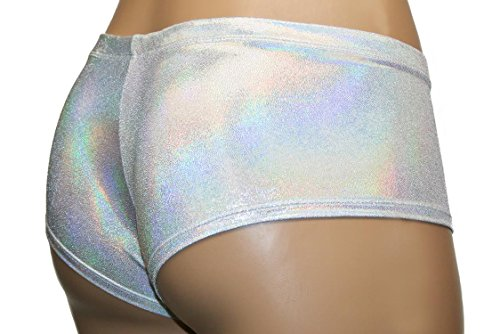 White and Silver Pearl Low Rise Cheeky Booty Shorts Rave Pole Dancer Clothing (Adult X-Small) by Dilly Duds (Image #4)