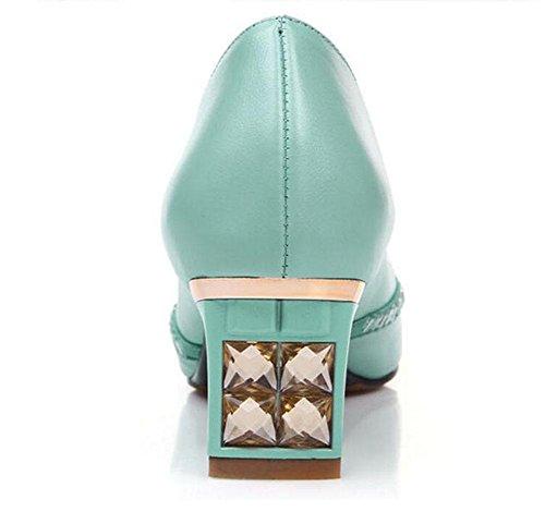permeable GLTER Toe blue la la fuera Rhinestone sandalias toda piel de superficiales Pump Peep interior de Mujeres boca days qPrPB