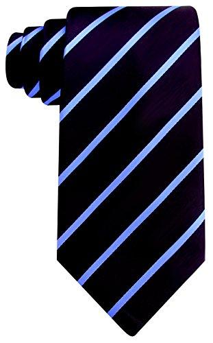 Scott Allan Mens Formal Pencil Stripe Necktie - Black and Medium Blue