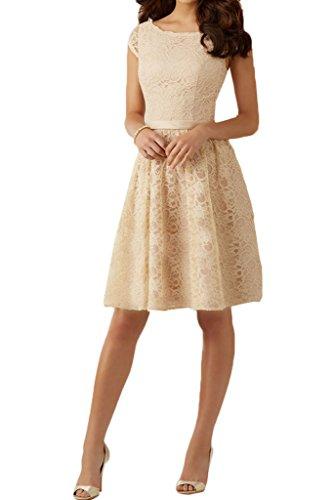 Aermel Festkleid Abendkleid Kurz Beliebt Champagner Partykleid Ivydressing Damen Promkleid Rueckenfrei Spitze Wqtn8nOxzS