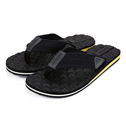 Beachcomber Sandal - Payeel Men's Beachcomber Sandal Slip-Resistant Bottom Slip Flops Thong Slippers (Black, 10D(M))