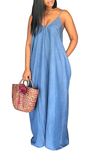 Summer Dress Jeans - Chuanqi Womens Summer Spaghetti Strap Dresses Casual Denim Deep V Neck Loose Maxi Dress