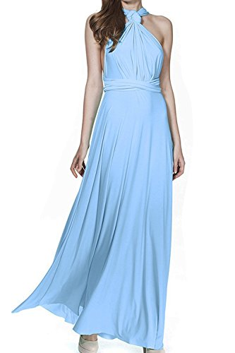 Women's Transformer Convertible Multi Way Wrap Long Prom Maxi Dress V-Neck Hight Low Wedding Bridesmaid Evening Party Grecian Dresses Boho Backless Halter Formal Cocktail Dance Gown Light Blue Small