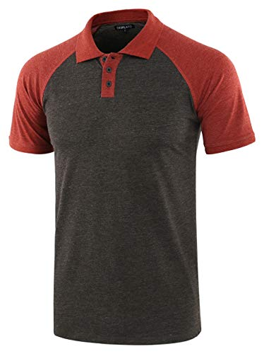 DESPLATO Men Casual Basic Active Short Raglan Sleeve Jersey Henley Polo T Shirt H.Charcoal/Rusty XXL