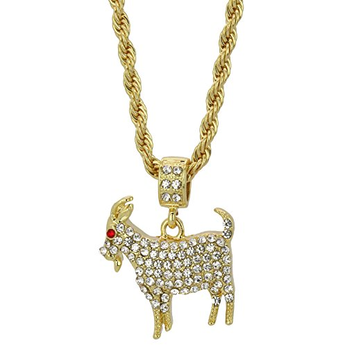 L & L Nation Mens 14k Gold Plated GOAT Cz Hip Hop Pendant 4mm Rope Chain Necklace (20