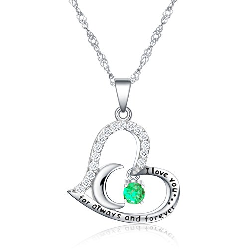 Dancing Birthstone Birthstone Jewelry I Love You For Always and Forever Emerald Pendant Necklace Birthstone Necklace (05-May-Emerald) by Anna Crystal Jewelry