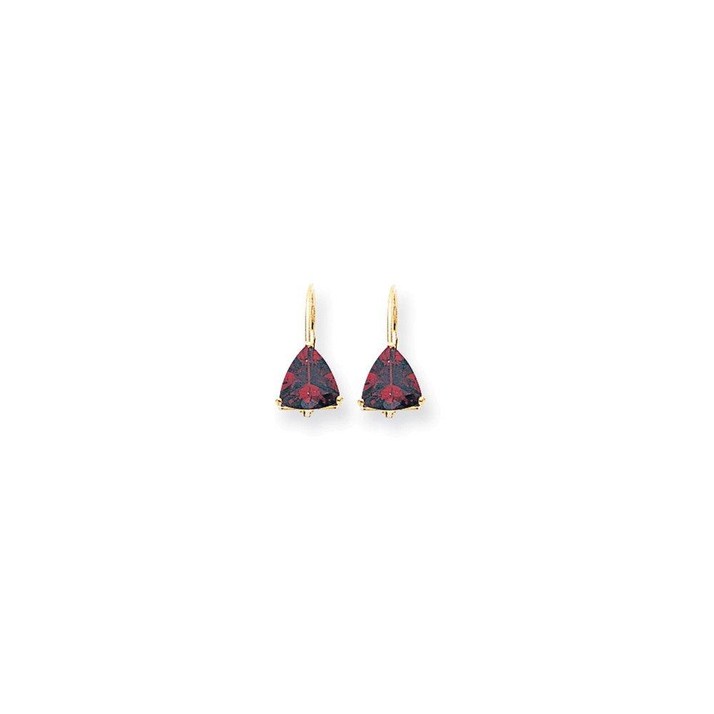 14k Yellow Gold 0.6IN Long 7mm Trillion Garnet leverback Earrings