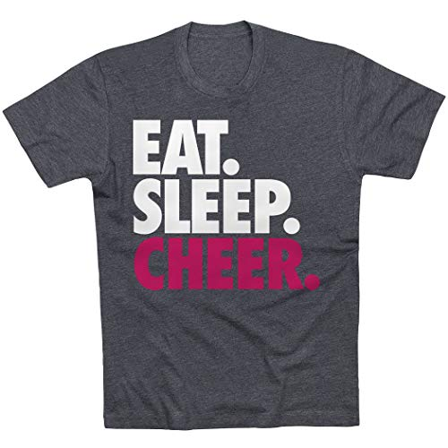 Eat. Sleep. Cheer. T-Shirt | Cheerleading Tees by ChalkTalkSPORTS | Charcoal | Adult Medium