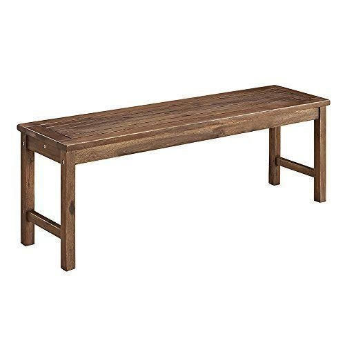 Walker Edison Furniture Company Solid Acacia Wood Patio Bench – Brown