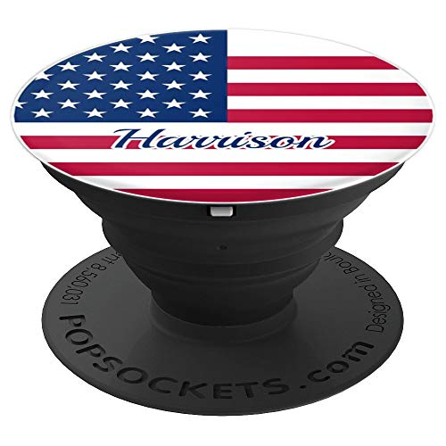 Harrison- Personalized Name USA Flag Cell Phone Holder - PopSockets Grip and Stand for Phones and Tablets
