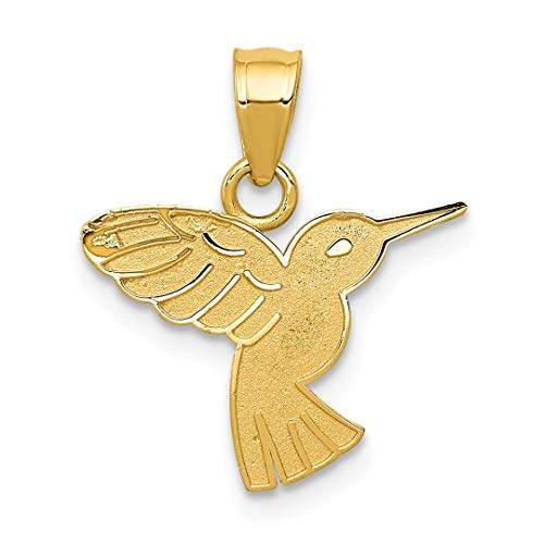 ICE CARATS 14kt Yellow Gold Hummingbird Pendant Charm Necklace Bird Fine Jewelry Ideal Gifts For Women Gift Set From Heart ()