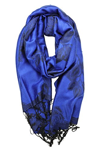Royal Blue Wrap - Achillea Two Tone Floral Roses Reversible Pashmina Scarf Shawl Wrap Stole 78