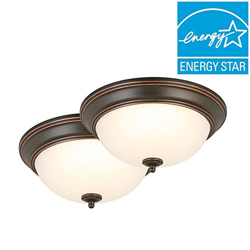 Commercial Electric 13 in. Oil-Rubbed Bronze LED Twin Pack Flushmount by Commercial Electric