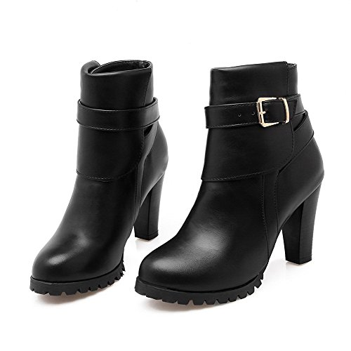 Top Low Boots Heels Black Round Toe AmoonyFashion High Closed Women's Solid zqXaY0
