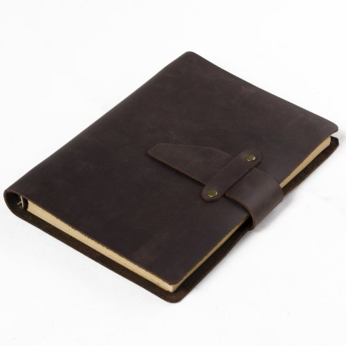 - Ancicraft Refillable Handmade Crazy Horse Journal Diary Notebook Loose-Leaf Brown A5 Lined Craft Paper (Strap Style)