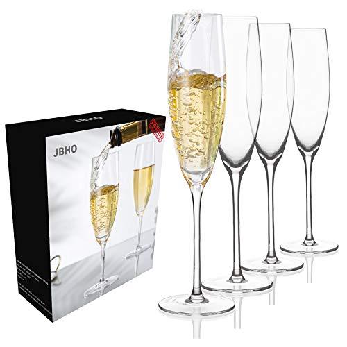JBHO Gift-Box Champagne Glasses – Hand Blown Champagne Flutes – Set of 4 Elegant Glass, 100% Lead-Free Premium Crystal…