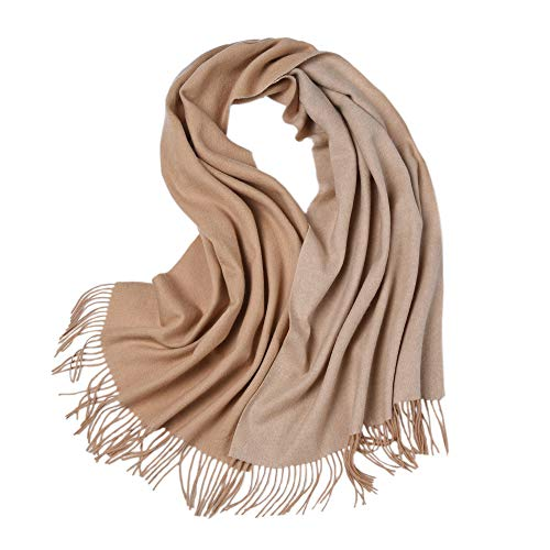 (LakeMono 100% Wool Scarf, Large Solid 2 Tone Wrap Shawl for Woman(79'' 27.55'',Deep Camel & Camel))