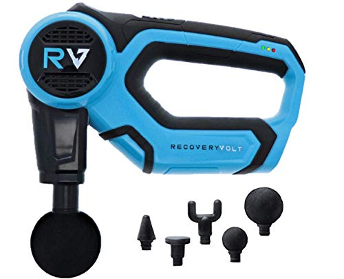 RecoveryVolt Massage Gun Handheld Deep Tissue Professional Massager Quiet 5 hr Battery 55 lb Stall Force 5 Attachments Advanced Percussion Therapy Precision Muscle Relief Back Massager