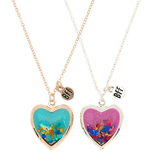 Claire's Girl's Best Friends Glitter Heart Locket Pendant Necklaces - 2 Pack