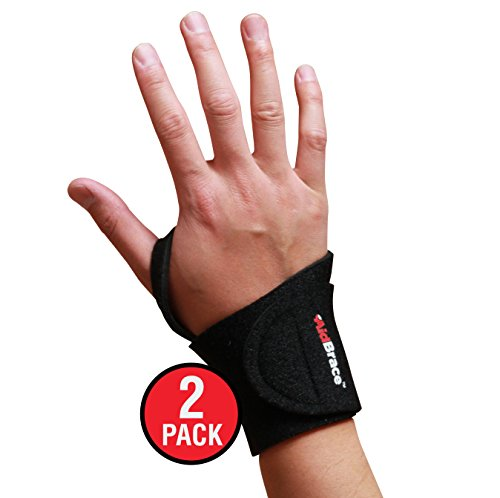 AidBrace Wrist Support Wrap (2 Pack) - Fits Both Hands and Helps with Carpal Tunnel, RSI, Arthritis, Tendonitis, and Sprains for Weak and Sore Wrists