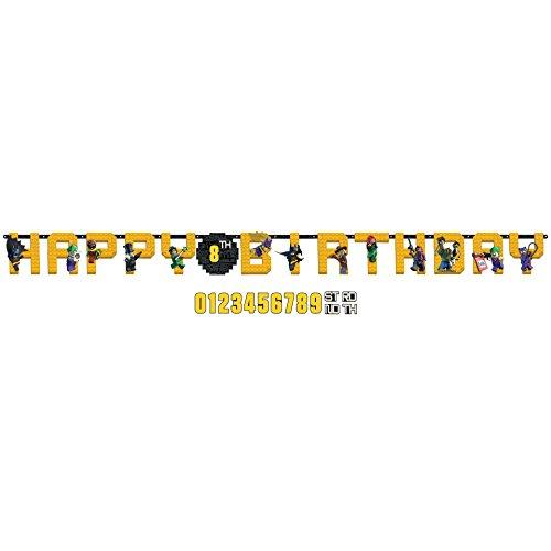 Amscan Lego Batman Jumbo Add-an-Age Happy Birthday Letter Banner - Print -